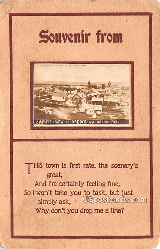 Souvenir From - Ardock, North Dakota ND Postcard