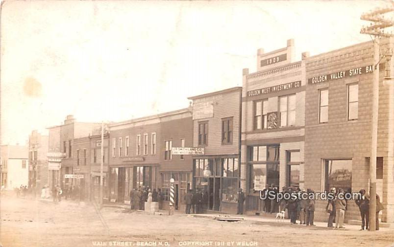 Main Street - Beach, North Dakota ND Postcard