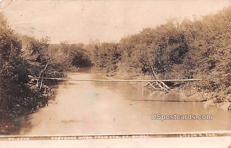 Cheyenne River from 5th Street Bridge - Lisbon, North Dakota ND Postcard
