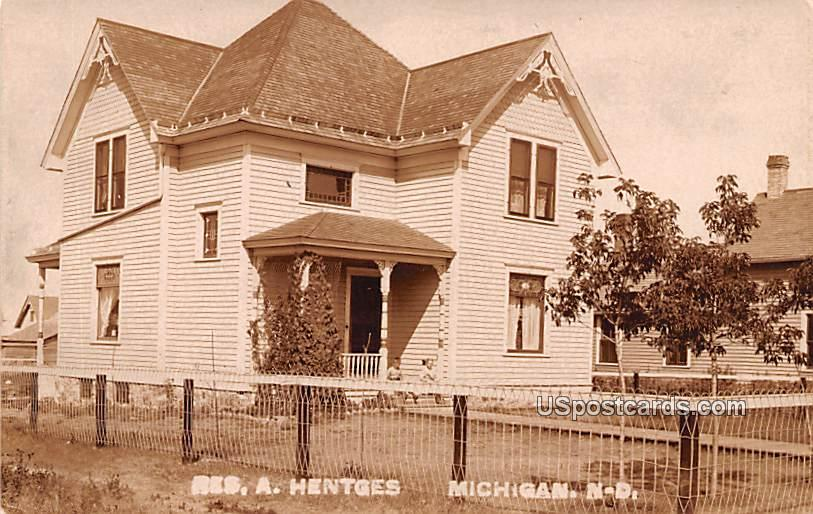 Res A Hentges - Michigan, North Dakota ND Postcard