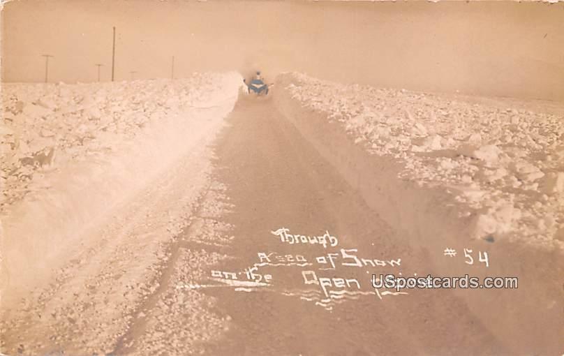 Through a Sea of Snow - Michigan City, North Dakota ND Postcard