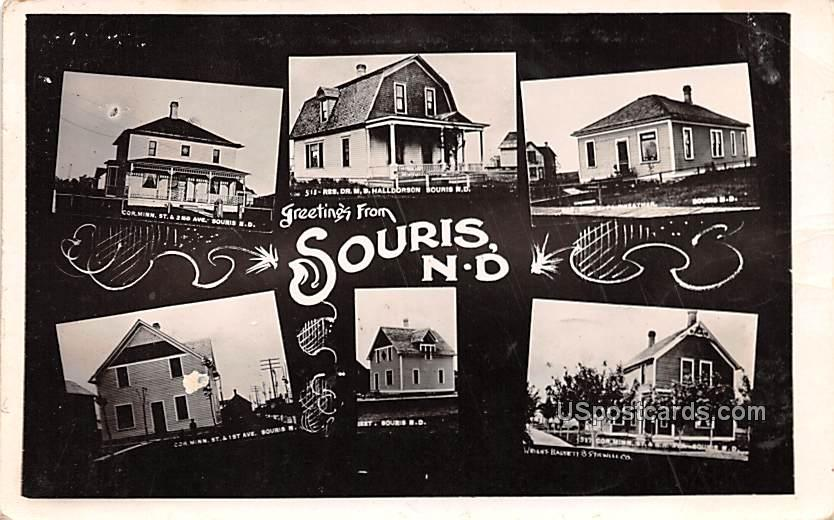 Greetings from - Souris, North Dakota ND Postcard
