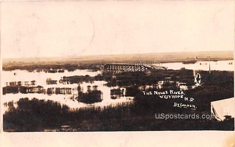 The Moust River - West Hope, North Dakota ND Postcard