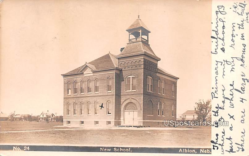 New School - Albion, Nebraska NE Postcard