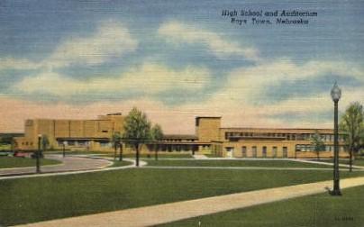 High School and Auditorium - Boys Town, Nebraska NE Postcard