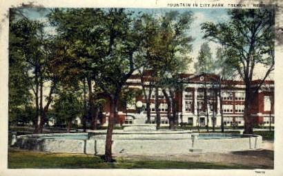 Fountain in City Park - Fremont, Nebraska NE Postcard