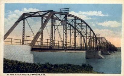 Platte River Bridge - Fremont, Nebraska NE Postcard