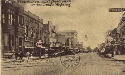 Main Street, on Lincoln Highway - Fremont, Nebraska NE Postcard
