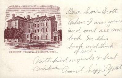 Fremont Hospital - Nebraska NE Postcard
