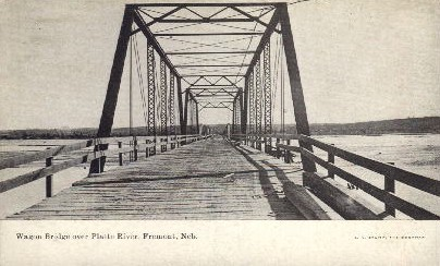 Wagon Bridge over Platte River - Fremont, Nebraska NE Postcard