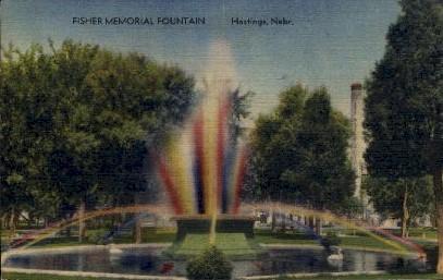 Fisher Memorial Fountain - Hastings, Nebraska NE Postcard