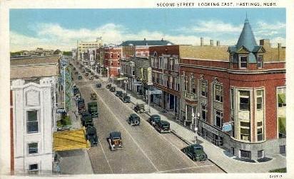 Second Street, looking East - Hastings, Nebraska NE Postcard