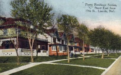 C Street East from 19th Street - Lincoln, Nebraska NE Postcard