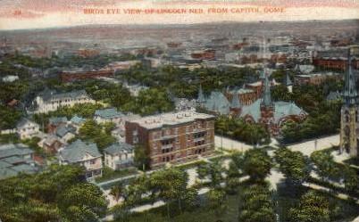 Birds eye view of Lincoln - Nebraska NE Postcard