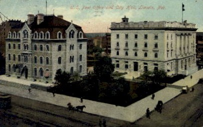U.S. Post office and City Hall - Lincoln, Nebraska NE Postcard