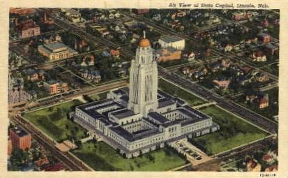 Air view of State Capitol - Lincoln, Nebraska NE Postcard