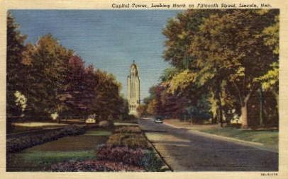 Looking North on Fifteenth Street - Lincoln, Nebraska NE Postcard