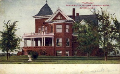 Home of William Jennings Bryan - Lincoln, Nebraska NE Postcard
