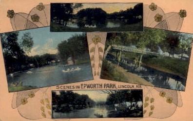 Scenes in Epworth Park - Lincoln, Nebraska NE Postcard