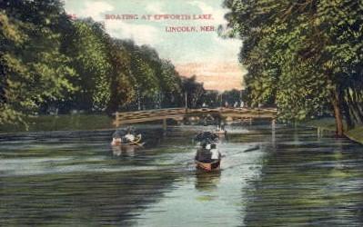 Boating at Epworth Lake - Lincoln, Nebraska NE Postcard