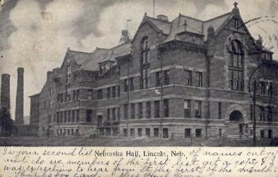 Nebraska Hall, Nebraska University - Lincoln Postcard