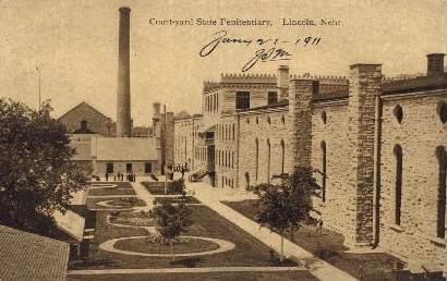 Court-yard State Penitentiary - Lincoln, Nebraska NE Postcard
