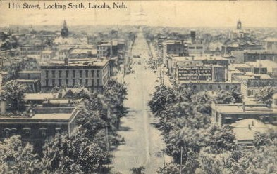 11th Street, looking South - Lincoln, Nebraska NE Postcard
