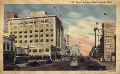 O Street looking West - Lincoln, Nebraska NE Postcard