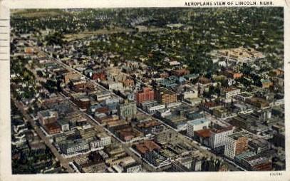 Aeroplane view of Lincoln - Nebraska NE Postcard
