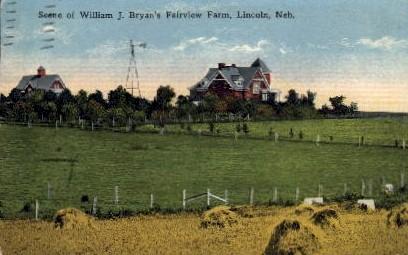 Scene of Willian J. Bryan's Fairview Farm - Lincoln, Nebraska NE Postcard