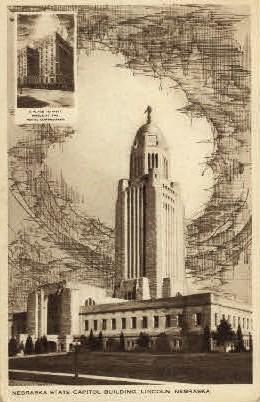 Nebraska State Captiol Building - Lincoln Postcard