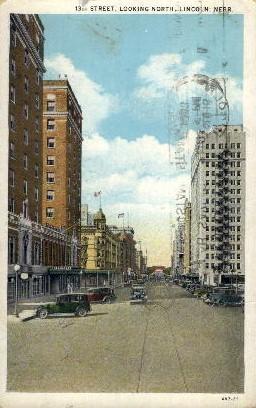 13th Street, looking North - Lincoln, Nebraska NE Postcard