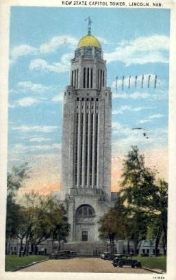 New State Capitol Tower - Lincoln, Nebraska NE Postcard