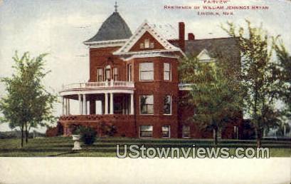 Residence of William Jennings Bryan - Lincoln, Nebraska NE Postcard