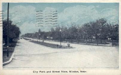 City Park and Street View - Minden, Nebraska NE Postcard