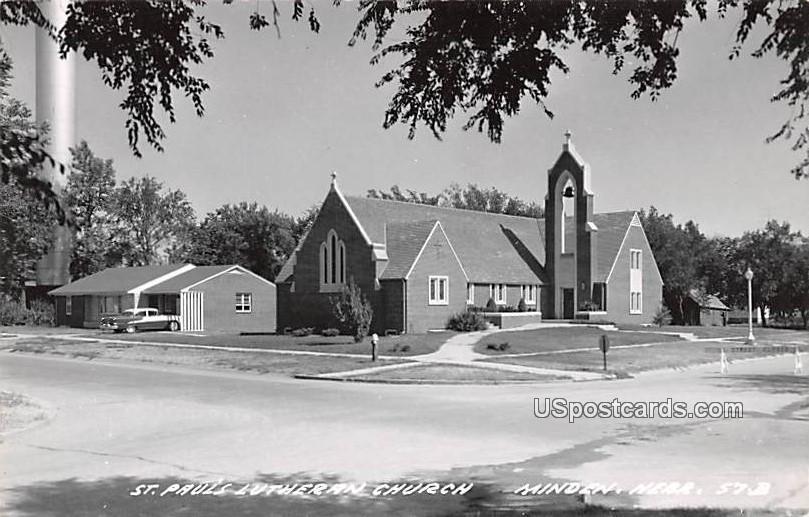 St Paul's Lutheran Church - Minden, Nebraska NE Postcard