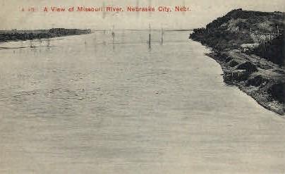 A View of Missouri River - Nebraska City Postcards, Nebraska NE Postcard