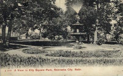 A view in city square park - Nebraska City Postcards, Nebraska NE Postcard