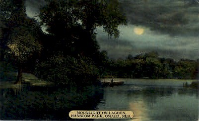Moonlight on Lagoon, Hanscom Park - Omaha, Nebraska NE Postcard