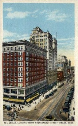 16th Street at Harney - Omaha, Nebraska NE Postcard