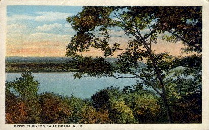 Missouri River View - Omaha, Nebraska NE Postcard