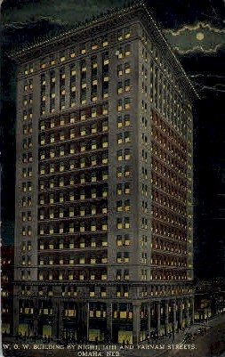 W.O.W. Building by Night - Omaha, Nebraska NE Postcard