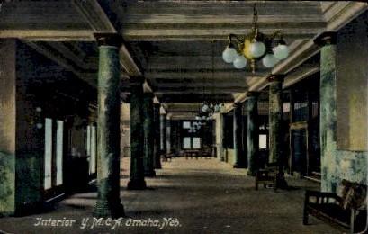 Interior Y.M.C.A. - Omaha, Nebraska NE Postcard