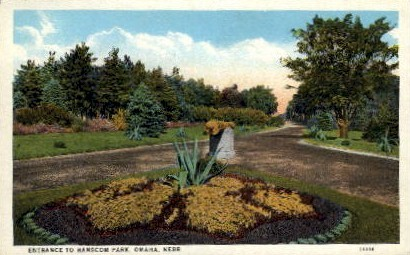 Entrance to Hancom Park - Omaha, Nebraska NE Postcard