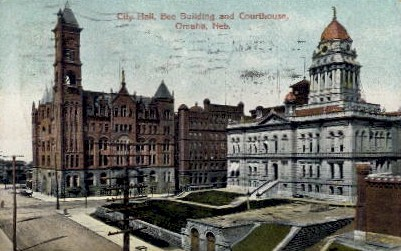 City Hall, Bee Building, and Courthouse - Omaha, Nebraska NE Postcard