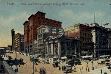 16th and Farnam Streets - Omaha, Nebraska NE Postcard