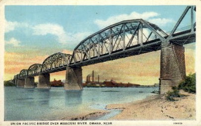 Union Pacific Bridge - Omaha, Nebraska NE Postcard