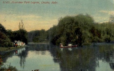 Riverview Park Lagoon - Omaha, Nebraska NE Postcard