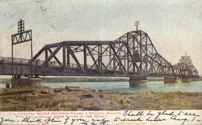 Ill. Central Bridge - Omaha, Nebraska NE Postcard