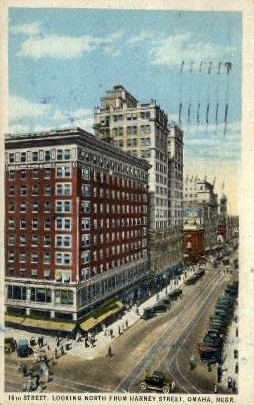 16th Street Looking North - Omaha, Nebraska NE Postcard